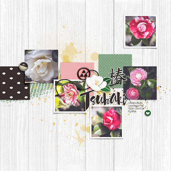 Inspiration Monday digital layouts with Tsubaki Camellia Kit freebie